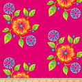 Henry Glass Petals Go Round Large Floral Fuchsia