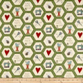 Henry Glass Home Sewn Hexies Green