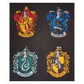 "Camelot Wizarding World Harry Potter House Crests 36"" Panel in Black"