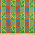 Ribbon Kente African Print 12 Yards Light Turquoise/ Light Orange