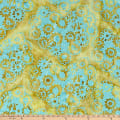 Northcott Banyan Batiks Daisy Chain Teal Yellow Flowers