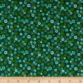 Stof Fabrics Denmark Rainbow Colours Circle & Dots Dark Green