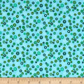 Stof Fabrics Denmark Rainbow Colours Circle & Dots Turquoise