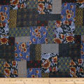 Trans-Pacific Textiles Asian Floral Block Patch Navy