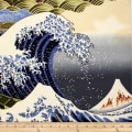 Trans-Pacific Textiles Asian Hokusai Wave Navy