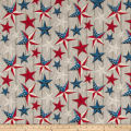 Susan Winget Patriotic Stars on Wood Digital Woven Gray