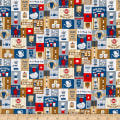 Cosmo Breakfast Club II Coffee Signs Patch Sheeting Blue/Brown