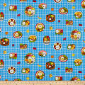Cosmo Kyraben Food Animals Oxford Window Pane Blue