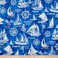 Cosmo Sea & Ocean Schooner Cotton/Linen Canvas Blue
