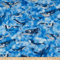 Cosmo Sea & Ocean Blue Whale Cotton/Linen Canvas Blue