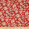 Lecien Retro 30's Child Smile 2018 Tossed Floral Red