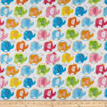 Andover/Makower UK Ellie Elephants Pink