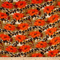 Rayon Challis Abstract Floral Orange/Brown
