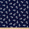 Gertie Printed Cotton Poplin Spotted Anchor Navy/White