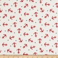 Gertie Printed Cotton Poplin Spotted Anchor White/Red