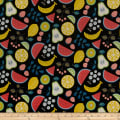 Kokka Fruits Watermelon Tossed Fruits Canvas Black