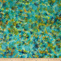 Tuscan Garden Sunflower Batik Lime/Blue