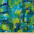 Color Crystals Abstract Batik Green/Turquoise/Navy