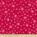Scarlet Romance, Small Floral, White On Red