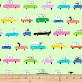 QT Fabrics Amanda Haley Dogtown Dogs In Cars Pale Green