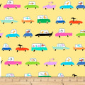 QT Fabrics Amanda Haley Dogtown Dogs In Cars Yellow