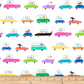 QT Fabrics Amanda Haley Dogtown Dogs In Cars White
