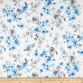 QT Fabrics  Juliette Spaced Floral Vine White