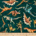 QT Fabrics Dan Morris Lost World Tossed Dinos Dark Teal