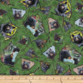 QT Fabrics Mark Keathley Nature's Bears Framed Black Bears Green