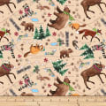 QT Fabrics Desiree North Woods Neighbor Animal Toss Light Tan