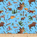 QT Fabrics Desiree North Woods Neighbor Animal Toss Blue