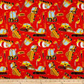 QT Fabrics Work In Progress Dump Truck Toss Vermillion