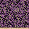 QT Fabrics  Echo Scroll Black