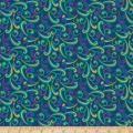 QT Fabrics  Echo Scroll Navy