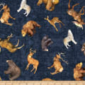 QT Fabrics Timberland Trail Tossed Animals Midnight Blue