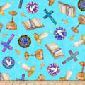 QT Fabrics Faith Religious Toss Medium Aqua