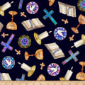 QT Fabrics Faith Religious Toss Navy