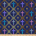 QT Fabrics Faith Crosses Navy