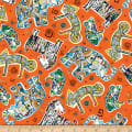 QT Fabrics Wild Side Tossed Geo Animals Orange