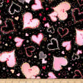 QT Fabrics With Love Large Hearts Black