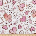 QT Fabrics With Love Large Hearts White