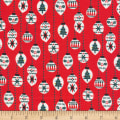 Cloud 9 Fabrics Noel Christmas Balls Organic Red
