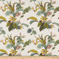 Cotton Linen Tropical Floral Mustard/Mauve/Green