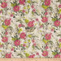 Cotton Linen Floral Fuschia/Bright Yellow