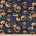 Cotton Linen Abstract Floral Red/Blue Denim