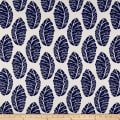 Cotton Linen Abstract Leaves Navy