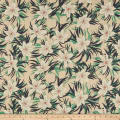 Cotton Linen Tropical Floral Aqua/Navy
