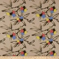 Cotton Linen Abstract Floral Brown/Red/Blue