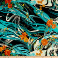 Silk Chiffon Abstract Floral Swirls Rust/Jade