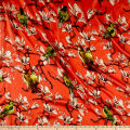 Silk Chiffon Floral Bird Sketch Red/Green